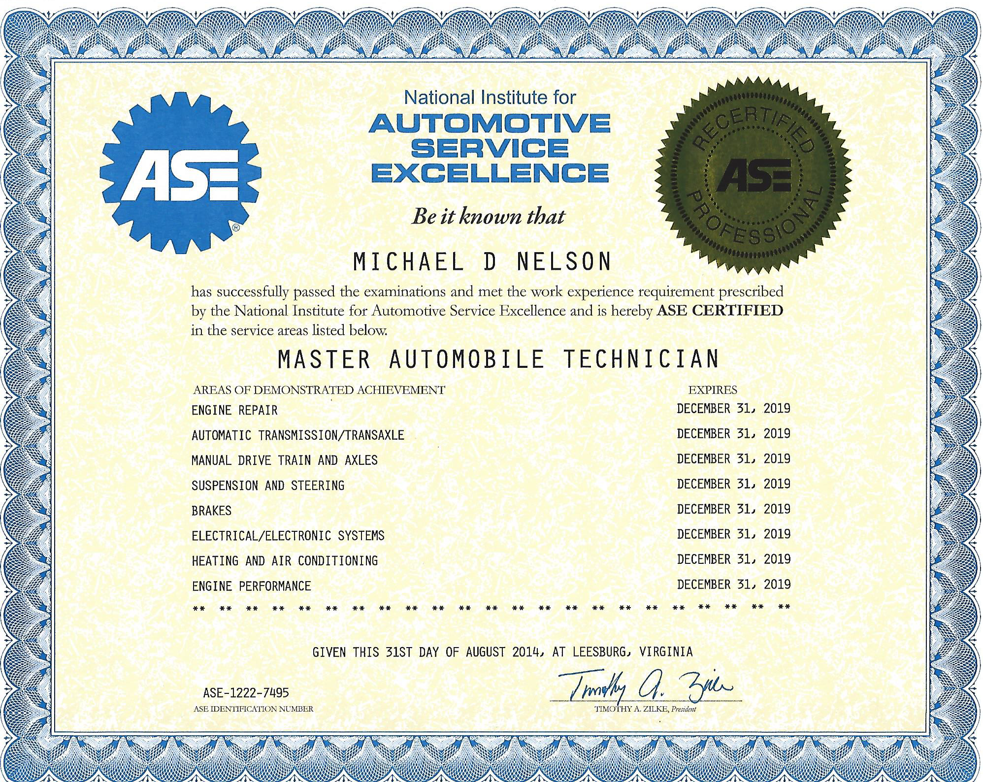 Mikes Garage Llc Certifications